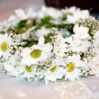 Wedding wreath from camomiles — Stock Photo