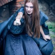 Portrait of a young witch. Halloween, horror. — Stock Photo