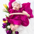 Portrait newborn baby in basket - Stock Photo