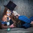 Portrait scary monster clown — Stock Photo