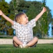 The little boy sitting on a grass with the lifted hands - Stock Photo