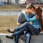 Portrait happy young teenage couple outdoor — Stock Photo #13277102