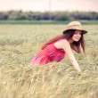 Portrait of the rural girl in field — Stock Photo