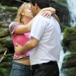 Kissing couple in mountain Carpathians — Stock Photo