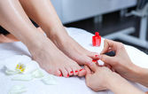 Pedicure in the spa salon in the garden — Stock Photo