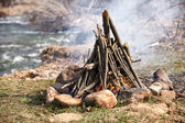 Closeup shot of camping fire — Stock Photo