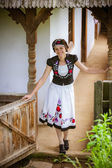 Nice Hungarian girl in national clothes — Stock Photo