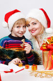 Happy family with a gifts — Foto Stock