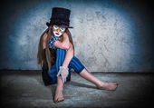 Portrait scary monster clown — Стоковое фото