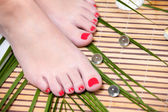 Beautiful feet leg with perfect spa pedicure on bamboo — Stock Photo