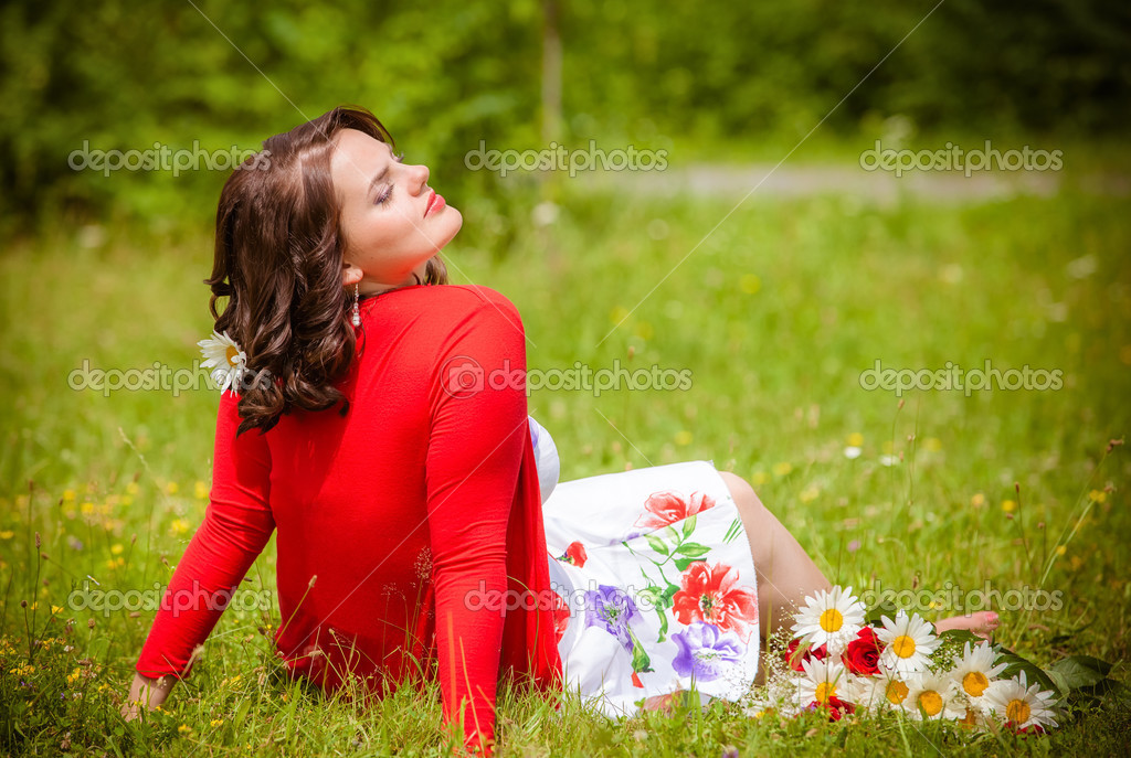 Happy smiling woman with flower   Stock Photo #13276986