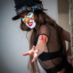 bouchent clown monstre effrayant portrait — Photo
