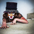 Close up portrait scary monster clown — Stock Photo