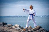 Boy training karate — Stock Photo