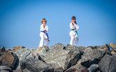 Children training karate — Stock Photo