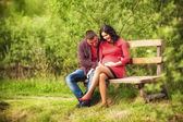 Man with pregnant wife — Stockfoto
