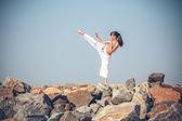 Girl training karate — Stock Photo