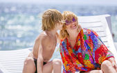 Mother with son on sea — Stock Photo