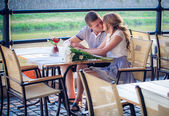 Young couple in cafe — Foto de Stock