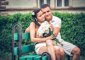 Young couple  in  park — Stock fotografie