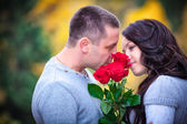 Love   couple in  park — Stock Photo