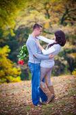 Couple enjoying  autumn — Stock Photo