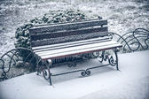 Snow of winter bench — Stock Photo