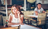 Young couple in cafe — Foto Stock