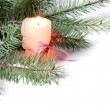 Branch of Christmas tree with candle and pinecone — Stock Photo #8135468