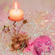 Christmas candle and ball on light background — Stock Photo #8135563