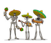 Danse Macabre. Mexican musicians. — Stock Vector