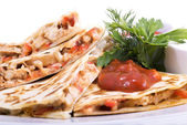 Quesadillas with Cajun Chicken — Stock Photo