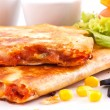 Quesadillas with sauces — Stock Photo