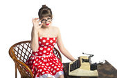 Girl  writer — Fotografia Stock