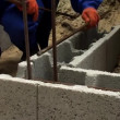 Cinder block work making — Stock Video #12479488