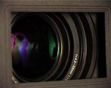Objektiv fotoaparátu新的一年红框礼品 — Stock video