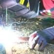 Stock Video: Electric arc welding