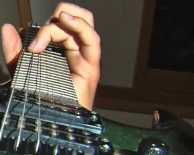 Playing at guitar — Stock Video