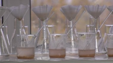 Chemical flasks — Stockvideo