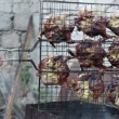 Quails on grill — Stock Video