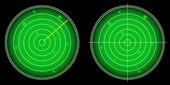 Brilhante tela de radar com vetor de alvos luminosos — Vetorial Stock