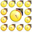 Stopwatch - Yellow Timers Set. Vector Illustration — Vector de stock
