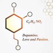Dopamine molecule. Love and passion concept — Stock Vector