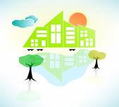 Bright Sunny House Scene. Vector Illustration — Stock Vector