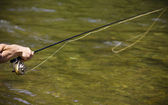 Fly fishing on the river — Stock Photo