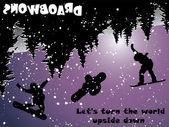 Snowboard Upside Down — Stock Vector