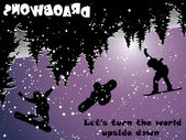 Snowboard boca abajo — Vector de stock