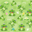 Frogs and toads. Seamless pattern. — Stock vektor