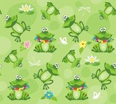 Frogs and toads. Seamless pattern. — Stock Vector