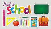 Back to school. Set of school accessories. — Vector de stock